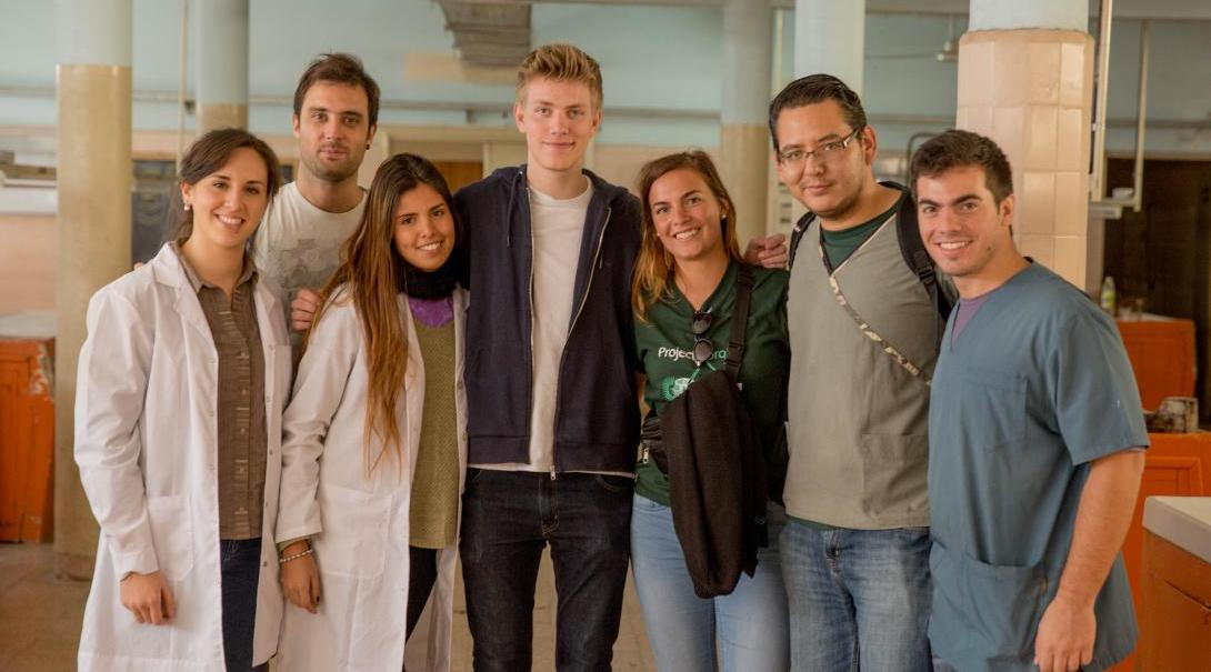Medical volunteers take a photo with local medical staff in Argentina.
